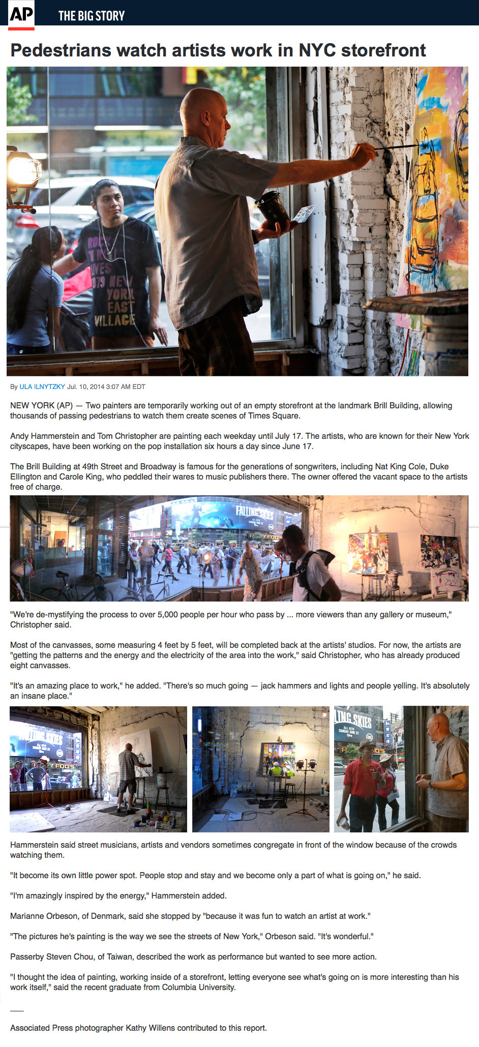 Associate Press article about Brill Building Project, live painting in Times Square