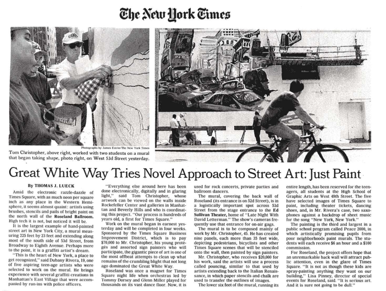 New York Times article on Roseland Ballroom Mural