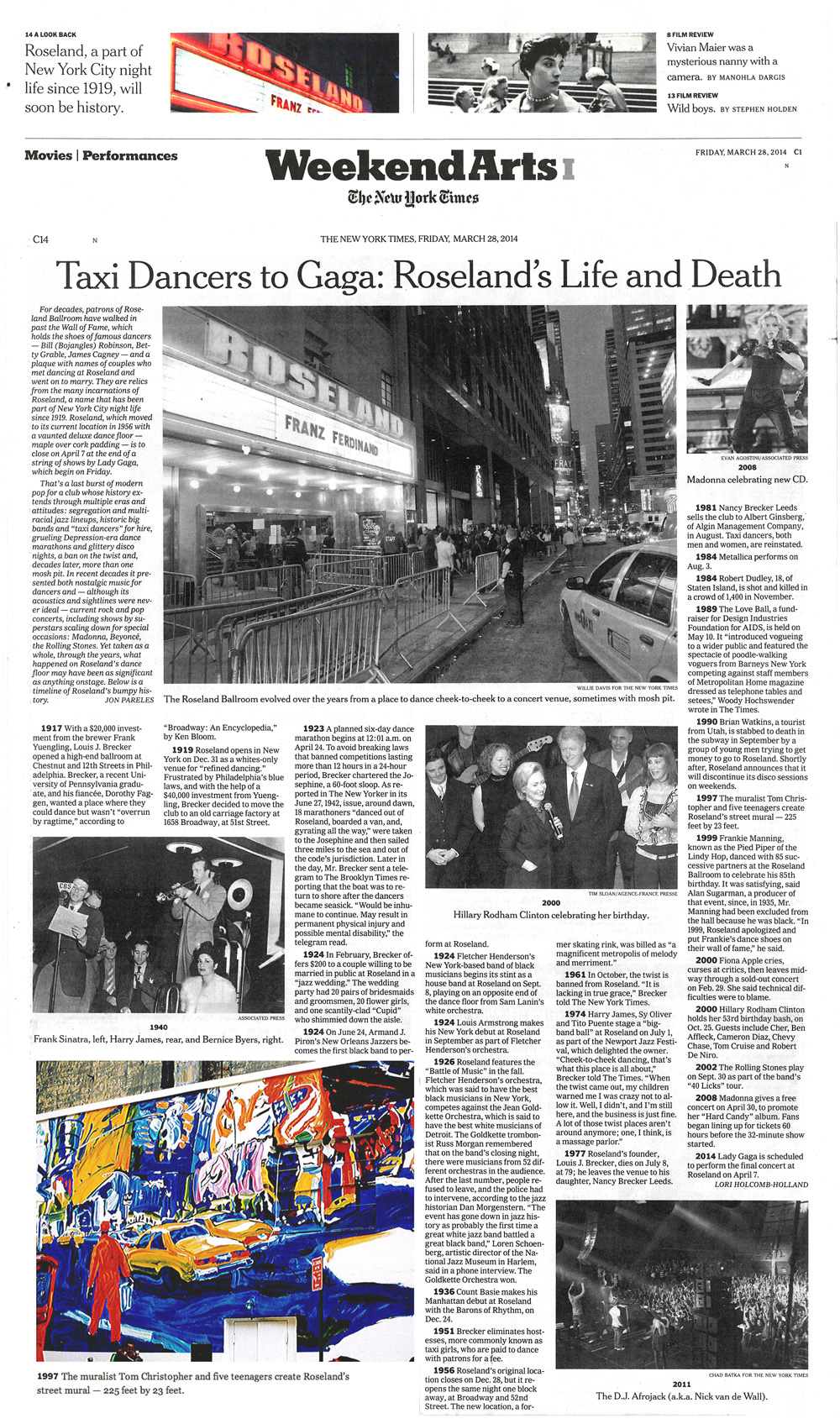 Article from the New York Times on Roseland Ballroom Mural